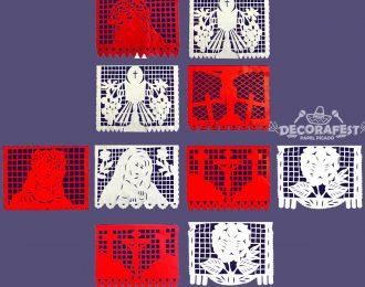 Paquete de 10 tiras Plástico Picado Religioso roja