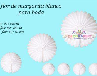 Papel Picado/ Flor de margarita blanca 24-48-70 cm