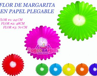 PAPEL PICADO FLOR MARGARITA PLEGABLE 70 CM