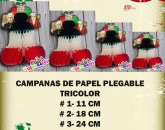 Campana Artesanal de Papel Picado 35 cm paquete de 10 pzas